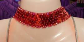 Pailletten halssnoer Choker STEEN ROOD - Fully sequinned choker necklace STONE RED