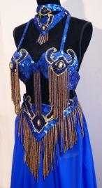 "Kompleet 7-delig professioneel buikdanskostuum KONINGSBLAUW GOUD ""Farao""- K4 - 7- piece fully sequinned bellydance costume ROYAL BLUE GOLD ""Pharao"""