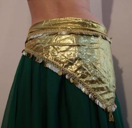 Glanzend driehoekig sjaaltje met muntjes in kreukelstof ZILVER -  SILVER Shiny triangular shawl made of crinckle fabric