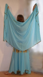 2-delig setje van rok + rechthoekige sluier TURQUOISE GOUD volledig afgeboord met kraaltjes en plastic pailletten - S M L - 2-piece set skirt + veil TURQUOISE BLUE GOLD beads and sequin rimmed