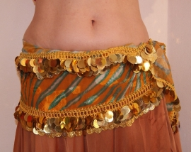 Heupgordel GROEN ORANJE GOUD XL 200 cm lang - Hip belt GREEN ORANGE GOLD XL