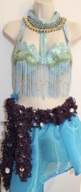 Gehaakte glitter boa / sjaal PAARS met ZILVEREN hologram pailletten -150 cm - braided glitter boa / shawl PURPLE, SILVER hologram laser sequins decorated