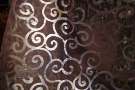 1001 Nacht hoofd sluier van WIT transparant organza met gouden en zilveren krullen + 1 zilveren hoofdbandje + 1 gouden hoofdbandje - 1001 Night veil headpiece WHITE transparent organza + 1 golden headband with coins + 1 silver headband with coins