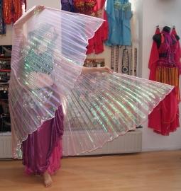 Isiswings parelmoer transparant FLUO ROZE met regenboog glans - Isis wings iridiscent transparent FLUORESCENT PINK rainbow - Ailes d'Isis ROSES arc en ciel