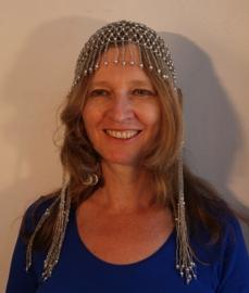 Kralen hoofddeksel kralen mutsje ZILVER Cleopatra - Beaded cap Cleopatra SILVER