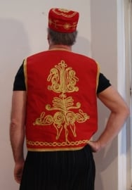 Gilet Heren mouwloos model ROOD met goud - M Medium L Large - Men's Waistcoat RED with gold - Gilet 1001 Nuits pour homme