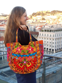 "Lichtgewicht Banjara Boho India hippie tas AARDE BRUIN MULTICOLOR - ""2 Elephants"" - Lightweight Banjari Indian Bohemian hippy Bag SAND BROWN MULTICOLORED"