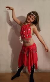 Buikdanskostuum met muntjes meisjes 3-delig : topje, hoofdbandje en rokje (2-5 jaar) ROSE - FUCHSIA - 3-piece BRIGHT PINK Bellydance costume for girls : skirt + top + headband