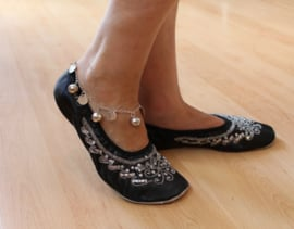 Buikdansschoentjes ZWART met ZILVEREN pailletten, lederen zool - Bellydance shoes BLACK, SILVER sequinned, leather sole