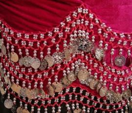 2-delig setje BH en heupgordel van fluweel FUCHSIA ROZE met zilver maat M, L, XL, XXL - 2-piece Harem set FUCHSIA PINK velvet, SILVER coins and beads decorated