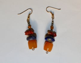 Tibet oorbellen met originele kralen ZILVER , LAPIS LAZULI - Tibet3 - Tibetan earrings with authentic beads LAPIS LAZULI, SILVER