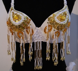 Pailletten bh WIT GOUD met kralen franjes - sequinned bra WHITE GOLD with beaded fringe