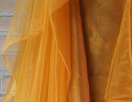 Sluier halfrond transparant organza WARM GEEL doorzichtig - 255 cm x 117 cm - WARM YELLOW organza veil halfcircle transparent
