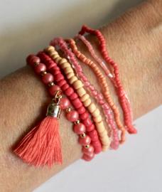 7-delig kralen armbanden setje Boho Ibiza chic ORANJE ROZE ZALM met kwast (meisje / dame elastisch) - one size - 7-pce beaded bracelet set Bohemian Ibiza chick ORANGE PINK SALMON (elastic girl / lady)