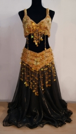 Buikdanskostuum Oriental Princess goud met gouden sliertjes - L, XL, XXL - 3-pce bellydance costume Oriental Princess gold with golden beaded fringe