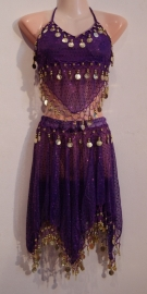 Harem setje PAARS GOUD model Harem3 - 3-delig : topje + rokje + hoofdbandje -S, XS, XXS - 3-piece harem costume PURPLE GOLD : top + headband + 4-points skirt