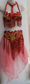 5-delig buikdanskostuum ROOD GOUD  met pailletten, kralen en kralenfranje + rok/sluier kleur naar keuze - Fully sequinned 5-piece bellydance costume RED GOLD