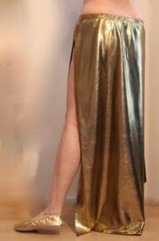 Glanzende, rechte, GOUDEN 2 splitten rok - One size fits M, L, XL - Shiny 2-slit GOLDEN straight skirt