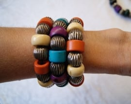 Boho Ibiza grote kralen armband TURQUOISE PAARS ZILVER - Bohemian Ibiza big beads bracelet TURQUOISE PURPLE SILVER color