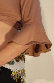 Kort oefentopje / bloesje  katoen AARDE BEIGE LICHT BRUIN MOCCA met 3/4 mouwen - M Medium - Short workout top / blouse stretch cotton EARTH BEIGE LICHT BROWN with 3/4 sleeves
