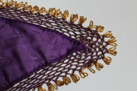 Driehoek sjaal met kralen haakwerk PAARS chiffon, GOUD - GEg1 S / M - Triangular scarf Egyptian handywork crocheted, PURPLE chiffon, GOLDEN beads crochete work decorated