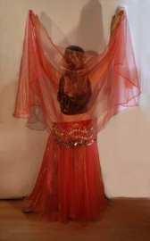 Ballroom buikdansrok, Naadloze cirkelrok van organza ORANJE-ROOD met GOUD GLANS -   Extra Large + Extra Long, L XL XXL - Ballroom Bellydance skirt, Full circle skirt ORANGE-RED with GOLD GLOW