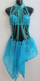 "Asymmetrisch ""Jasmin"" punten rokje TURQUOISE BLAUW glimstof - one size - Asymmetrical shiny fabric points ""Yasmin"" skirt TURQUOISE BLUE"