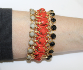 """""""Frozen"""" armband met ingelegde kraaltjes en draadversiering ROOD ZWA RT - """"Frozen"""" bracelet, beads inlay RED BLACK"""