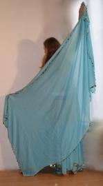 2-delig setje van rok + rechthoekige sluier TURQUOISE GOUD volledig afgeboord met kraaltjes en plastic pailletten - S M L - 2-piece set skirt + veil TURQUOISE BLUE GOLD beads and sequin rimmed