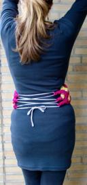 Marokkaanse taille ceintuur gevlochten, FUCHSIA GOUD - one size - Moroccan waist belt FUCHSIA, GOLD braided woven