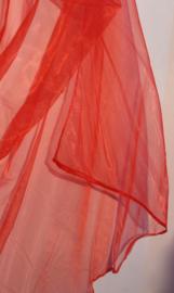 Sluier halfrond transparant organza FEL ROOD transparant  - BRIGHT RED organza veil halfcircle transparent