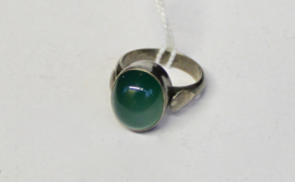 ZILVEREN ring met groene AGAAT kristal halfedelsteen - maat 54-55 size - Ring SILVER with green AGATE crystal gemstone