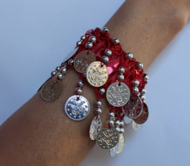 Muntjes armband met glimmertjes en ZILVEREN muntjes met ROOD, BLAUW, FUCHSIA, GOUD, PAARS, TURQUOISE, ROZE, ZWART, WIT - Small Medium  - SILVER Coin bracelet glitter RED, BLUE, FUCHSIA, PINK, GOLD, BLACK, PURPLE, TURQUOISE, WHITE