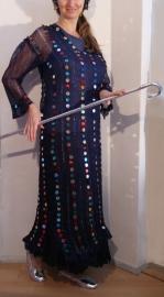 Saidi netjurk MARINE BLAUW / MARINEBLAUW met plastic muntjes - NAVY BLUE saidi bellydance dress with plastic coins