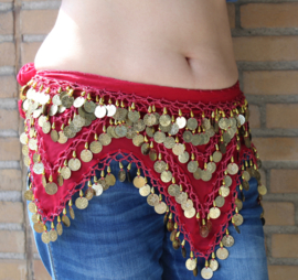 4 punten muntjesgordel DONKER ROOD / DONKERROOD GOUD chiffon - G38 - 4-points bellydance coinbelt DEEP RED  / DARK RED chiffon, GOLD decorated