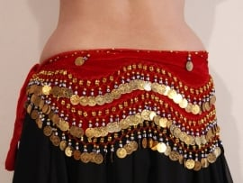 Buikdansgordel ROOD fluweel met geluksoogjes G25 GOUD - G25 - Velvet bellydance hipscqrf RED , GOLD decorated with coins, beads and lucky eyes
