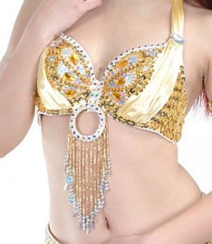 Pailletten en kralen bh halter model GOUD GEEL ZILVER met satijn en ring versiering - Maat 36, 38 -  Size 36, 38 -  fully sequinned and beaded bra YELLOW GOLD SILVER with ring and satin decoration