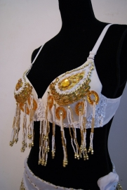 Pailletten bh WIT GOUD met kralen franjes - sequinned bra WHITE GOLD with beaded fringe