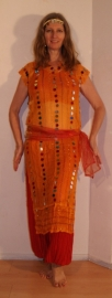 3-delig Cleopatra ensemble : transparante netjurk/tuniek oranje-GEEL + bijpassend heupsjaaltje + hoofdbandje met muntjes - S M L XL - 3-piece Cleopatra set : transparent net dress orange-YELLOW + matching hip shawl + head