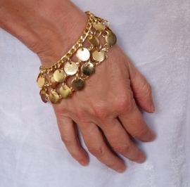 Armbandje met 2 rijen kleine effen muntjes GOUD of ZILVER - 2-row coins bracelet GOLD or SILVER