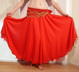 2-lagen rok met golvende zoom RED - one size (tot XL) - 2 layer skirt RED