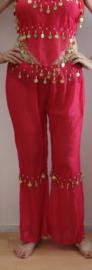 Dames Harem set FEL ROZE FUCHSIA GOUD 3-delig : top + broek + hoofdbandje- 3delig - XS, S, M 36/38 - 3-piece Harem costume FUCHSIA BRIGHT PINK GOLD