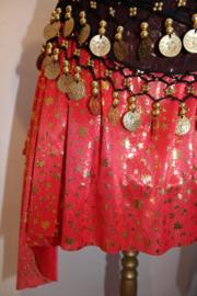 Feestelijk punten rokje Meisjes / kinder voor buikdans met maantjes, sterren, spiralen, boompjes ROOD GOUD - 5-9 jaar- Pointed Party skirt with moons, stars, trees and spirals,  for girls RED GOLD