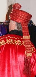 Luxe Tulband, Indisch, Arabisch, Orientaals hoofddeksel heren - one size - Turban RED GOLD, arabian, oriental, Indian head gear gentlemen