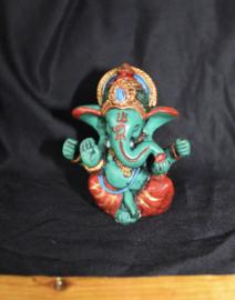 Ganesha Hindoe godheid beeldje multicolor TURQUOISE GROEN-BLAUW - 7,5 cm - Ganesha Hindu statue elephant deity TURQUOISE GREEN-BLUE