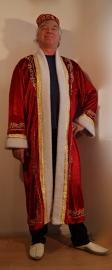 Sultan / Sheik / Sjeik luxe harem jas ROOD met WITTE kunst bont rand -  M Medium - Sheik overcoat de luxe RED  WHITE artificial fur rimmed