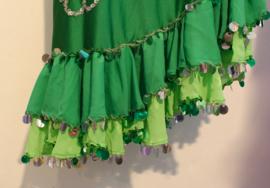 Asymetrische Melaya Leff jurk Iskanderia jurk GRAS GROEN, LIME GROEN, ZILVER met bloem motief - Small Medium -  Asymetrical Melaya Leff Iskanderani dress GRASS GREEN, LIME GREEN, SILVER with flower pattern