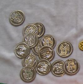 Metalen muntjes zilver  Toetanckamon - diameter 32 mm - Metal coins SILVER color Toet Anck Amon