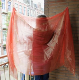 "Glimsluier ORANJE rechthoekig ""Liquid ORANGE"" - 245 cm x 107 cm - Veil rectangle ORANGE with glow "" Liquid ORANGE"""