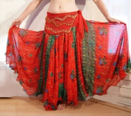 Bollywood 05 : Wijde multicolor cirkelrok met 2 splitten rood groen - Bollywood skirt red / green multicolor with 2 slits